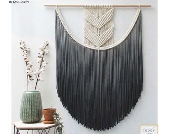 "Large Macrame Wall Hanging - Macrame Curtains - Macrame Wall Art - Macrame Patterns - Wall Tapestry - Dip-dye Tapestry - Home Decor - ""EVA"""