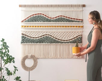 Modern Macrame wall hanging - Woven Tapestry - Wall Rug - Textile Art - 'Adriana'