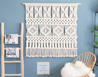 "Extra Large Macrame Wall Hanging - Macrame Curtains - Macrame Wall Art - Macrame Patterns - Wall Tapestry – Wall Decor - Home Decor - ""AVA"""