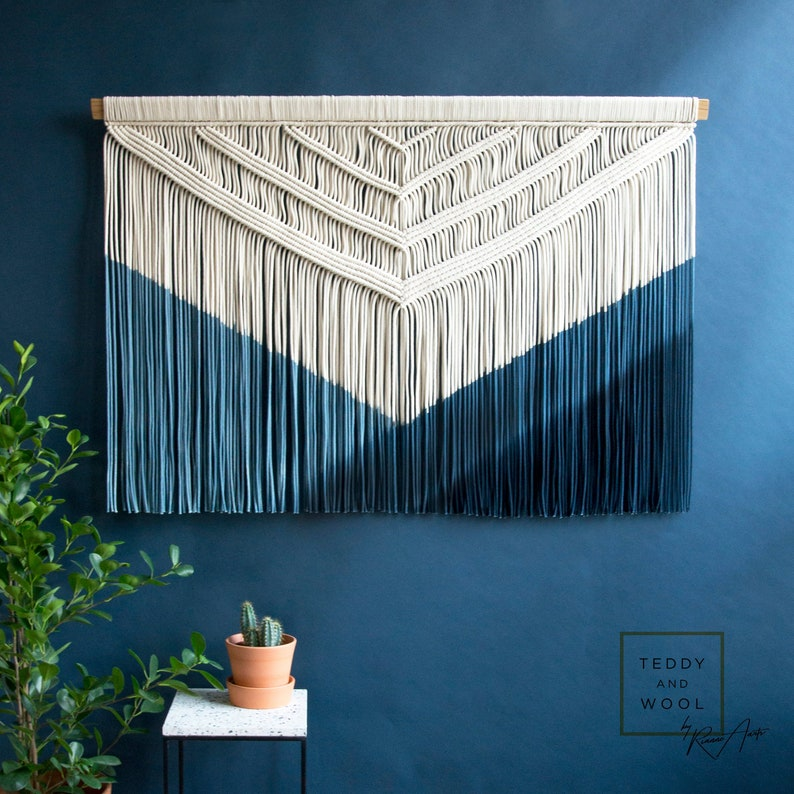 21fdf01446872 Macrame Wall Tapestry Wall Hanging Dyed in a Blue Gradient