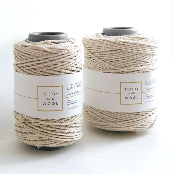 Makramee Garn Natur 1kg ca super soft Baumwolle Bastel Schnur 175m 4mm