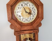 Handmade Oak Regulator Style Wall Clock with Progressive Westminster Chime