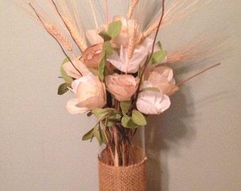 Burlap Wrapped Floral Arrangement / Paper Flower Arrangement / Paper Roses Arrangement / Wheat Stalks