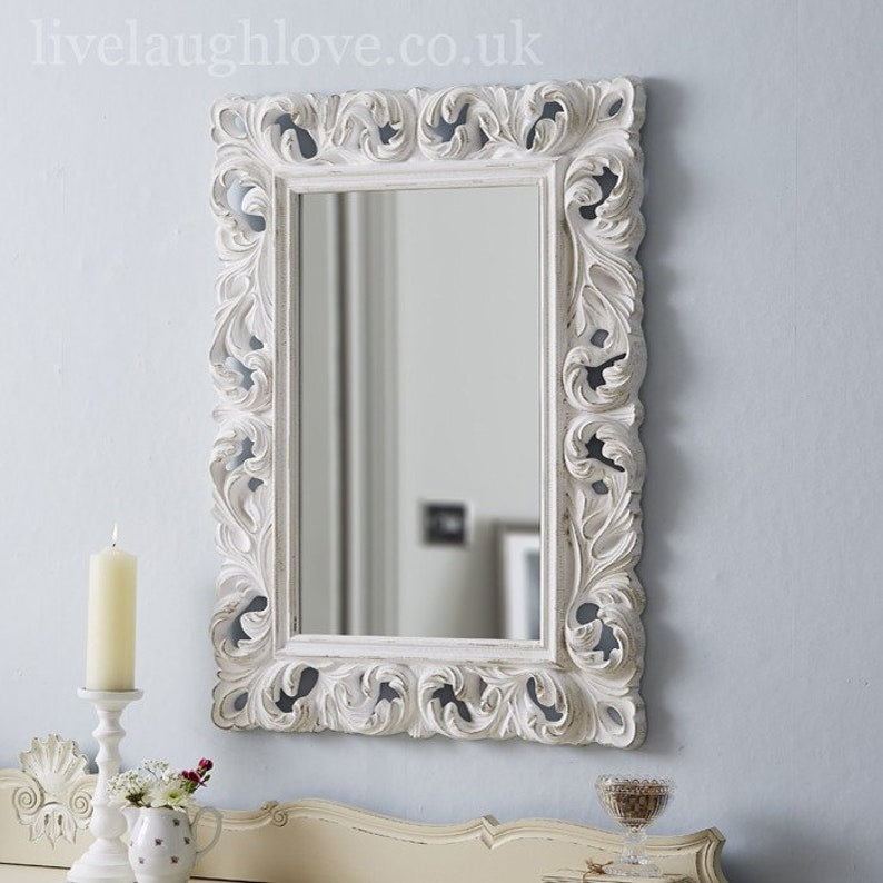 Large Ornate Mirror Carved Antique White Etsy