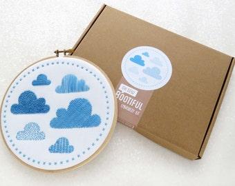 Modern Sampler Embroidery Kit, Clouds Embroidery Kit, Contemporary Needlework Kit, DIY Nursery Decor, DIY Gift For Her, Hoop Art Set
