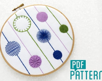 Modern Sampler Embroidery Pattern, Crewel Tutorial Download, Modern Needlework Sampler Pattern, DIY Hoop Art Digital Pattern, Hand Embroider