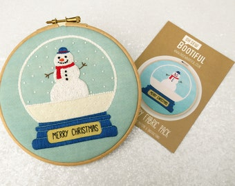 Snowman Embroidery Pattern, Snowglobe Needlework Kit, Xmas Hoop Art Pattern, DIY Christmas Gifts, Cute Embroidery Pattern, Adults Craft Set