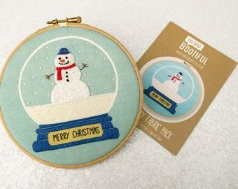 Snowman Embroidery Pattern, Snowglobe Needlework Kit, Xmas Hoop Art Pattern, DIY Christmas Gifts, Cute Embroidery Pattern, Adults Craft Set