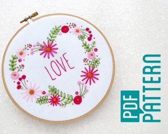 Love Heart Hoop Art Pattern, Flower Hand Embroidery Download, Modern Needlework Tutorial PDF, Pretty Pink Embroidery, DIY Wedding Decor