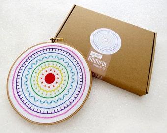 Rainbow Embroidery Kit, Embroidery Sampler Kit, DIY Modern Sampler, Easy Embroidery, Beginners  Embroidery Kit, Rainbow Needlework, Hoop Art
