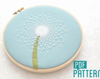 Dandelion Embroidery Pattern, DIY Hand Embroidery, PDF Pattern, Flower Hoop Art, Needlecraft Design, Instant Download, Dandelion Clock Art