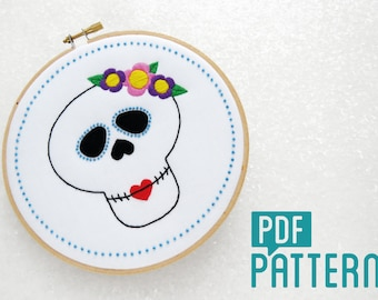 Sugar Skull Embroidery Pattern, Candy Skull Needlecraft Pattern, Halloween Needlework Pattern, PDF Pattern Download, Rockabilly Embroidery