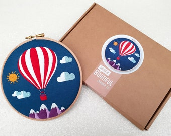 Hot Air Ballon Embroidery Kit, Mountains Embroidery Kit, Sky Needlecraft Kit, Hand Embroidery Kit, Modern Needlework Kit, Hoop Art Kit