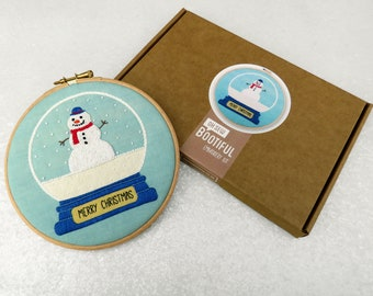 Snowman Embroidery Kits, Snowglobe Embroidery Kit, Handmade Christmas Gift, Christmas Emboidery Kit, Xmas Hoop Art, Adults Craft Kits