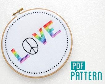 Love Embroidery Pattern, Peace Needlework Pattern, LGBT Embroidery, GLBT Anniversary Gift, Pride Hoop Art, Gay Pride, Beginner Embroidery