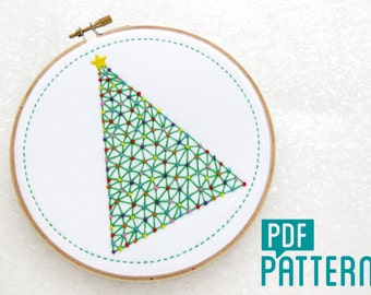 Christmas Tree Embroidery Pattern, Xmas Tree Hoop Art Pattern Download, Geometric Needlecraft, Festive Embroidery PDF, Modern Needlework