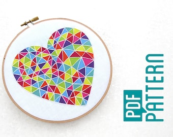 Beginner Embroidery Pattern, Easy Hoop Art Tutorial PDF, Geometric Heart Needlework Pattern, Learn To Hand Embroider, Basic Embroidery Kit