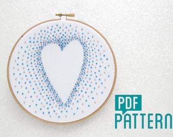 Heart Embroidery Pattern, Cotton Anniversary Gift, DIY Wedding Gift, DIY Anniversay, Love Hoop Art Turtorial PDF,Modern Needlecraft Pattern