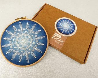 Snowflake Mandala Embroidery Kit, Christmas Craft Kit, Snowflake Emboridery, Winter Hoop Art, Xmas Gift For Artist, Mandala Hoop Art Kit