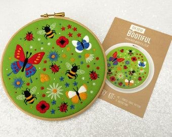 Bees and Butterflies Embroidery Pattern, Ladybug Needle Craft Pattern, Butterfly Embroidery Pattern, Stamped Needlework Pattern, Hoop Art.