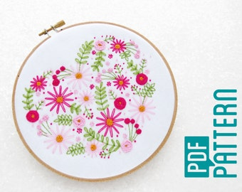 Heart Embroidery Pattern PDF, Mothers Day Hoop Art Tutorial, Flowers Needlework Pattern Download, Embroidery Tutorial, DIY Anniversary Gift