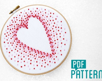French Knot Heart Embroidery Pattern, Modern Needlework Pattern, DIY Wedding Gift, DIY Anniversay Gift, Love Heart Hoop Art Turtorial PDF