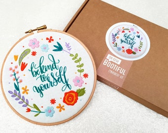 Be Kind To Yourself Embroidery Kit, Self Care Kit, Spring Needle Craft Kit, Floral Hoop Art, Floral Hand Embroidery Project, Hand Sewing Kit