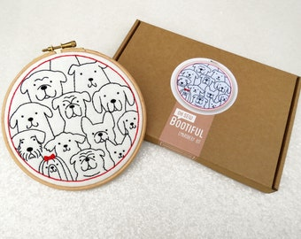 Dogs Embroidery Kit, Beginners Embroidery, Dog Lovers Gift, Dogs Hoop Art, Animal Lovers Gift, Dogs Needlework Kit, Easy Embroidery Set,