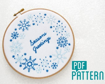 Christmas Embroidery Pattern, Seasons Greetings Needlecraft, Festive Needlework Pattern, Snow Hoop Art Tutorial, Holidays Embroidery Pattern
