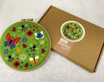 Butterflies and Bees Embroidery Kit, Wildflower Needle Craft Kit, DIY Butterfly Hoop Art, Ladybird Embroidery, Summer Hand Embroidery Kit