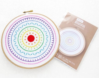 Rainbow Sampler Embroidery Pattern, DIY Embroidery Kit, Hand Needlework Pattern, Full Instructions, Pre Printed Embroidery Kit Fabric, MYO