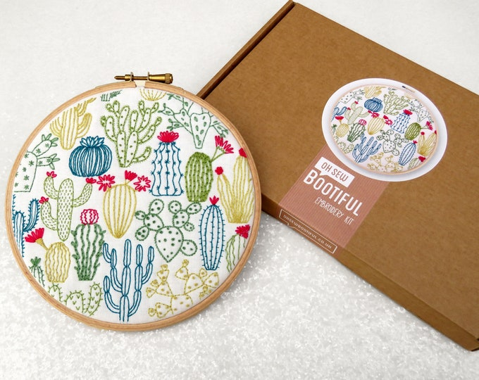 Featured listing image: Cactus Embroidery Kit, Cacti Embroidery Pack, Succulents Needlecraft Kit, Hand Embroidery Kit, Modern Needlework Kit, Hoop Art Kit for Adult