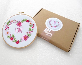 Floral Embroidery Kit, Love Hand Embroidery Kit, Flowers Needlework, DIY Gift For Her, Modern Embroidery Set, Pink Floral Hoop Art Set