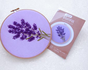 Lavender Embroidery Pattern, Wildflower Embroidery Pattern, Floral Hand Embroidery Pattern Kit, Summer Flower Hoop Art Fabric Pattern Pack