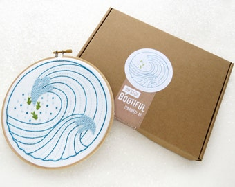 Modern Embroidery Kit, Ocean Waves DIY Hoop Art, Modern Needlework Kit, Embroidery Tutorial, DIY Gift for Her, Beginners Embroidery Kit