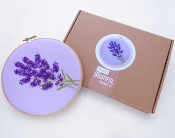 Lavender Embroidery Kit, Mothers Day Gift Idea, Wildflowers Hoop Art, Relaxation Gift For Her, Easy Hand Embroidery, Summer Embroidery Kit