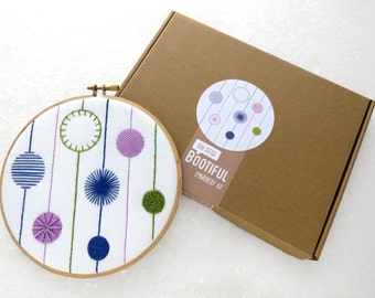 Embroidery Sampler Kit, Modern Embroidery Kit, DIY Wall Hanging, Needlework Sampler, Hand Embroidered Sampler Hoop Art Kit, DIY Gift for Her