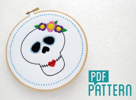 Sugar Skull Embroidery Pattern Candy Skull Needlecraft