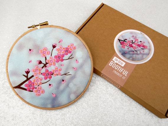 Blossom Embroidery Kit Cherry Blossom Embroidery Kit Diy Etsy