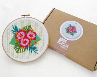 Modern Embroidery Kit, Hibiscus Needlework Kit, Tropical Flowers Hoop Art Kit, Summer Needle Craft Kit, Floral Hand Embroidery Project