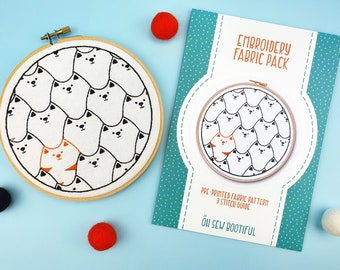 Cats Hand Embroidery Pattern, DIY Halloween Decoration, Needlework Tutorial, DIY Gift For Cat Lovers, Cats Embroidery Kit, Modern Hoop Art