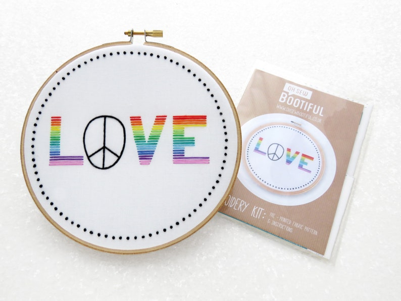 Love Needlecraft Pattern Printed Fabric For Embroidery SALE- DISCONTINUED Rainbow Needlework. Rainbow Embroidery Pattern GBLT Hoop Art