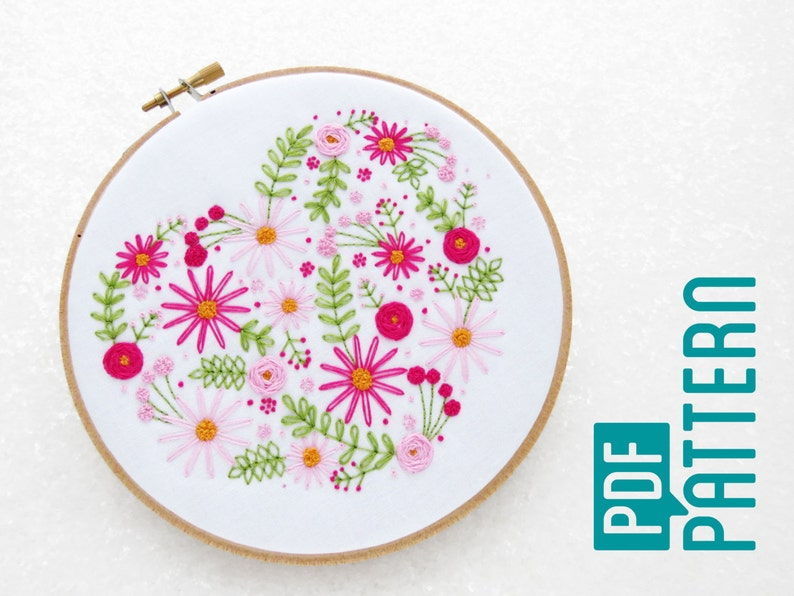 Heart Embroidery Pattern PDF Mothers Day Hoop Art Tutorial image 0