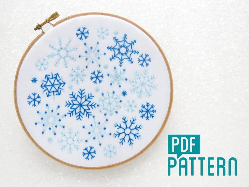 Snow Needlework Pattern Christmas Embroidery DIY Christmas Decor Xmas Hoop Art Pattern Winter Embroidery Snowflakes Embroidery Pattern