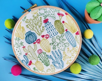 Cactus Embroidery Kit, Cacti Embroidery Pack, Succulents Needlecraft Kit, Hand Embroidery Kit, Modern Needlework Kit, Hoop Art Kit for Adult