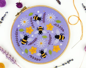 Bees Embroidery Kit, Lavender Needle Craft Kit, Wildflower Hoop Art, Floral Embroidery Kit, Bees Hand Embroidery Kit Project