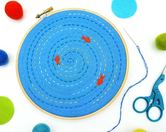 Mindfulness Embroidery Kit, Relaxing Project, DIY Craft Kit, Fish Pond Hoop Art, Gift For Her, Learn to Sew, Hand Embroidery Set, DIY Gift