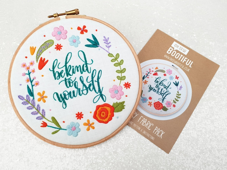 Be Kind To Yourself Embroidery Pattern, Positive Affirmation Hoop Art  Pattern, Needlecraft Pattern, Get Well Soon Gift, Good Mental Health