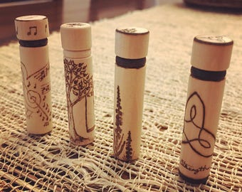 Woodburned Needle Cases