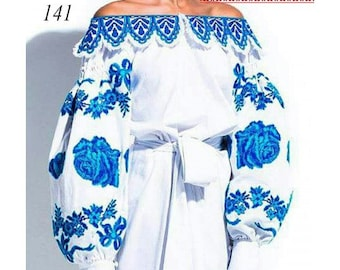 Beaded embroidery, beaded dress, blue bead embroidery, gzhel pattern, white gzhel dress, white gzhel blouse